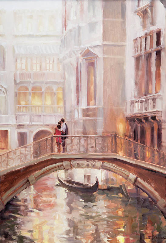 Romantic Art Print featuring the painting A Perfect Afternoon In Venice by Steve Henderson