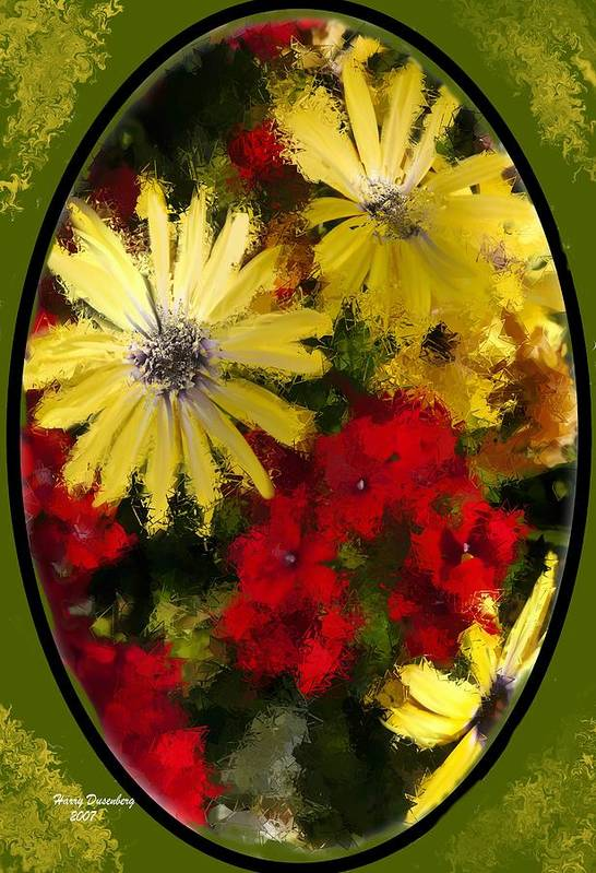 Flowers Art Print featuring the painting Abstract Flowers 2 by Harry Dusenberg