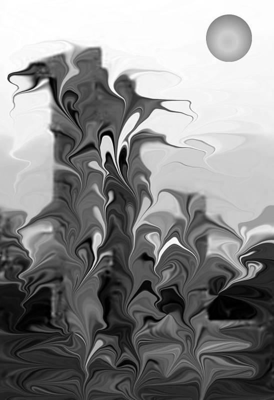 Abstsract Art Print featuring the digital art Acropolis Rhodes by James Eugene Albert