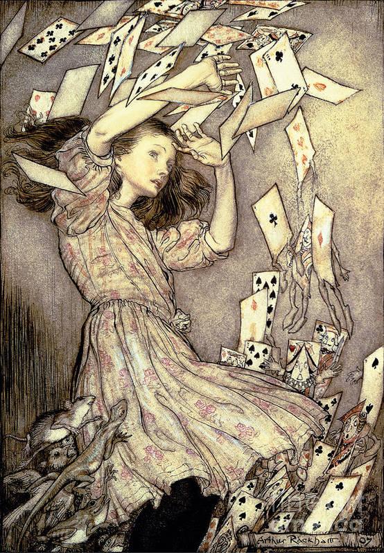 Illustration Art Print featuring the drawing Adventures In Wonderland by Arthur Rackham