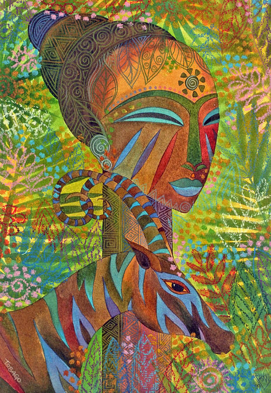 Exotic Jungle African Mask Tropical Antelope Art Print featuring the painting African Queens by Jennifer Baird