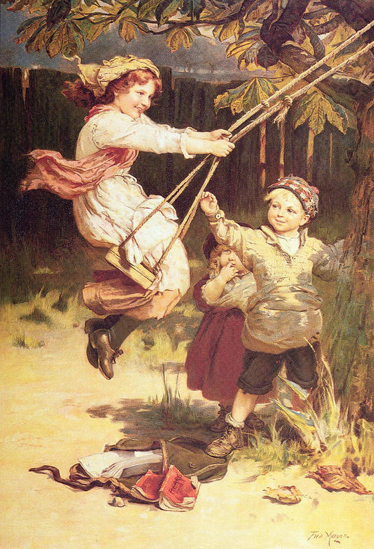 Swing; Swings; Boy; Girl; Male; Female; Child; Children; Playing; Schoolbooks; Books; Balancoire Art Print featuring the painting After School by Frederick Morgan