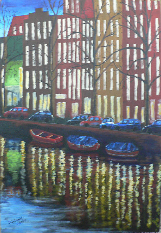 Canal Art Print featuring the painting Amsterdam Evening by Dan Bozich