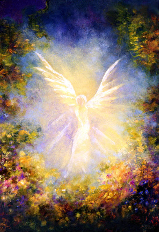 Angel Art Print featuring the painting Angel Descending by Marina Petro