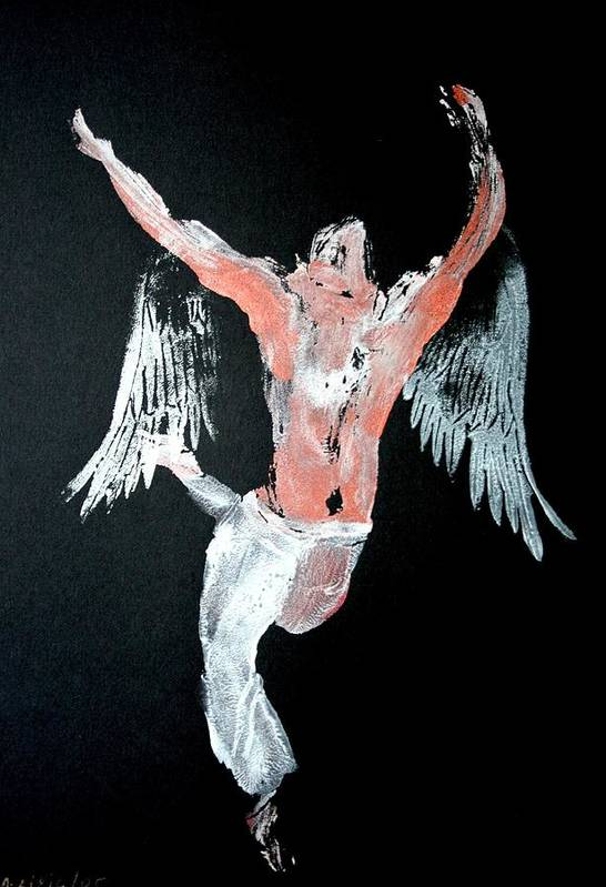Angel Art Print featuring the painting Angel Leaping by Ana Bikic