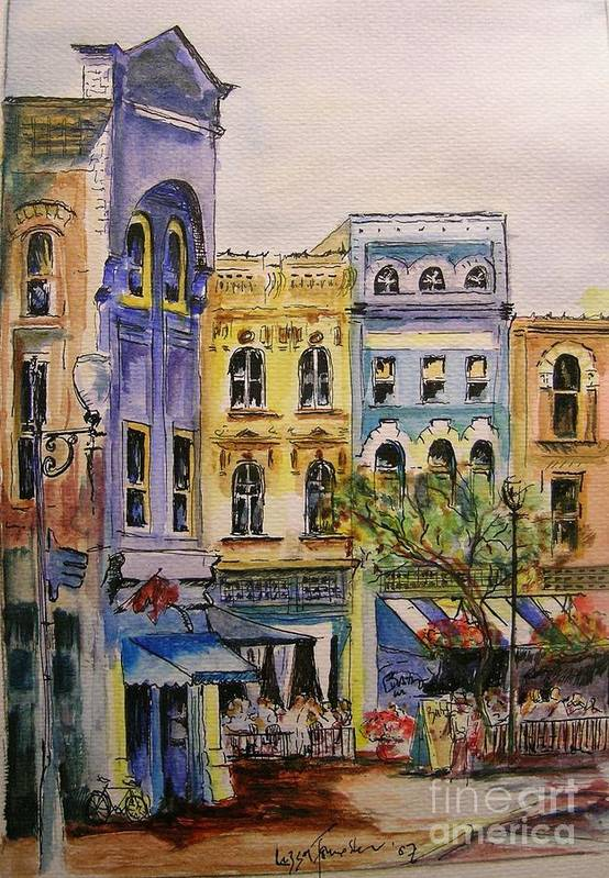 Townhouses Art Print featuring the painting Asheville by Lizzy Forrester