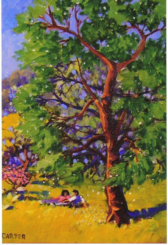 Trees Art Print featuring the painting At The Park by Jonathan Carter