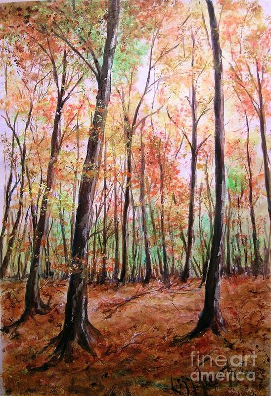 Landscape Art Print featuring the painting Autumn Forrest by Lizzy Forrester