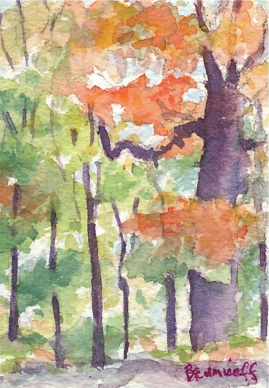 Landscape Art Print featuring the painting Autumn In My Driveway by Jan Bennicoff