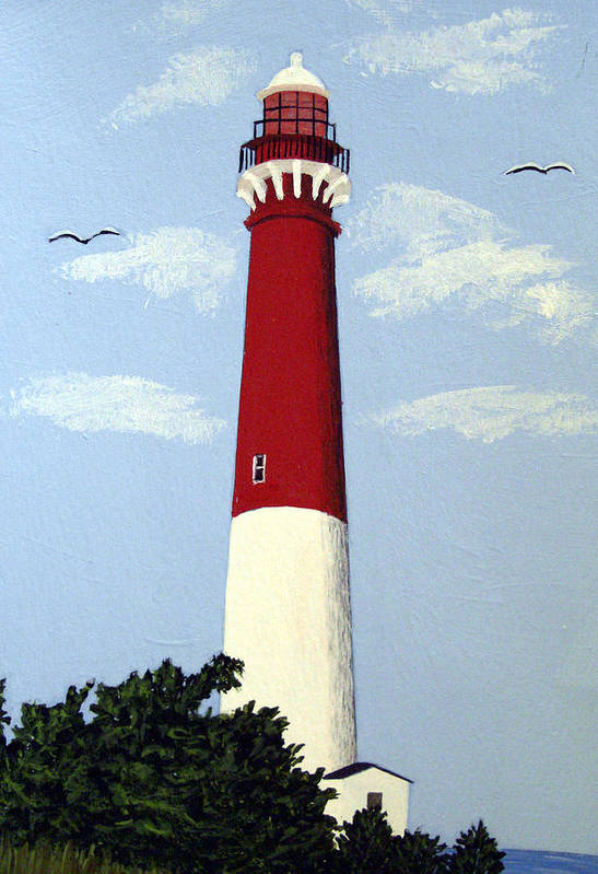 Lighthouse Paintings Art Print featuring the painting Barnegat Lighthouse by Frederic Kohli