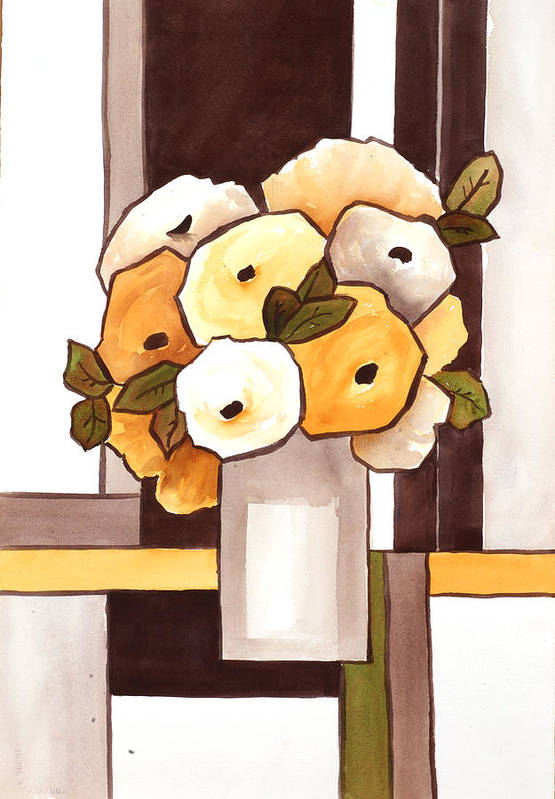 Painting Art Print featuring the painting Beige And Brown Funny Flowers by Carrie Allbritton