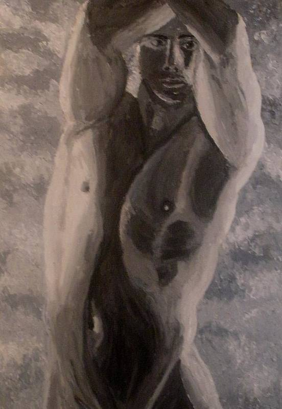 Male Nude Art Print featuring the painting Between The Arms by Mats Eriksson