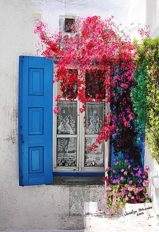 Window Art Print featuring the digital art Blue Shutters by Joselyn Holcombe