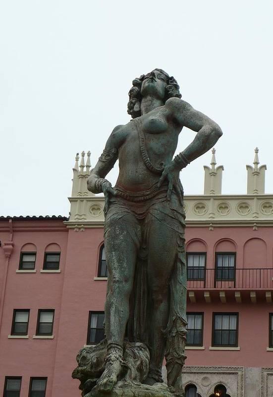 Statue Art Print featuring the photograph Boca Resort Statue by Florene Welebny