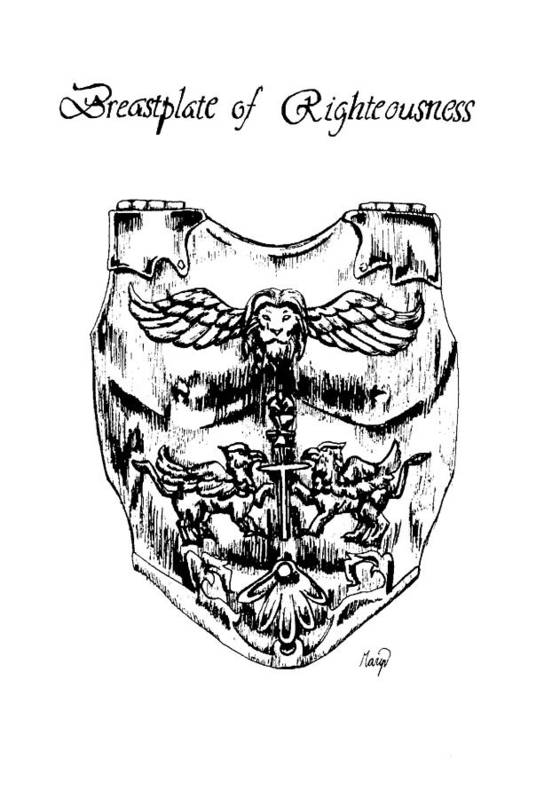 Breastplate Art Print featuring the drawing Breastplate Of Righteousness by Maryn Crawford