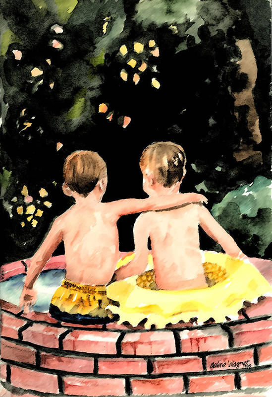 Boys Art Print featuring the painting Buddies by Arline Wagner