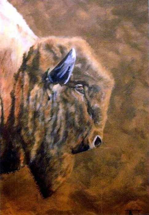 Bison Art Print featuring the painting Buffalo by Travis Kelley
