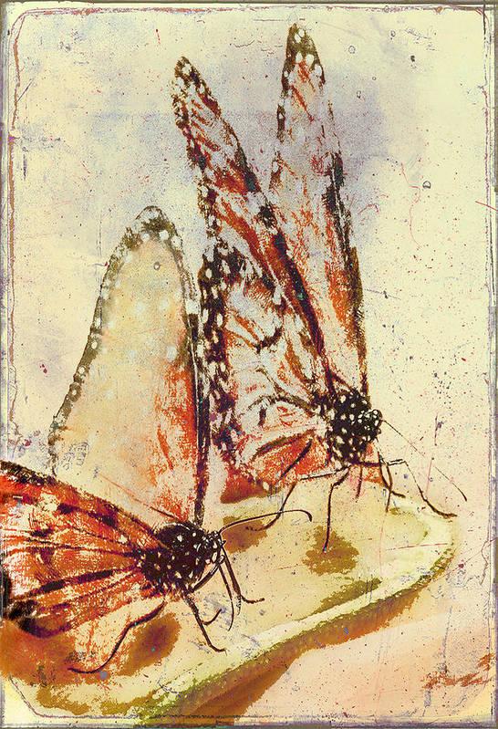 Digital Art Art Print featuring the digital art Butterflies On An Orange Slice by Jill Balsam