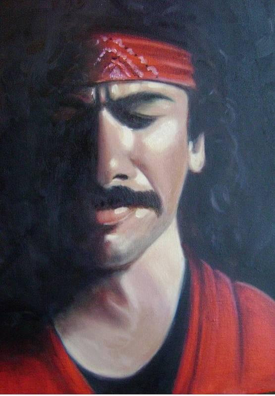 Santana Art Print featuring the painting Carlos Santana by Toni Berry