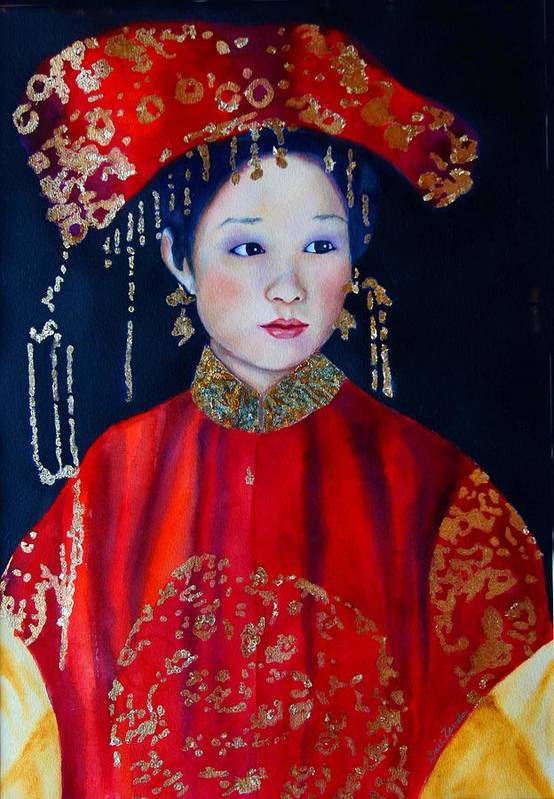 Asian Woman Art Print featuring the painting Celebration In Red by Gail Zavala