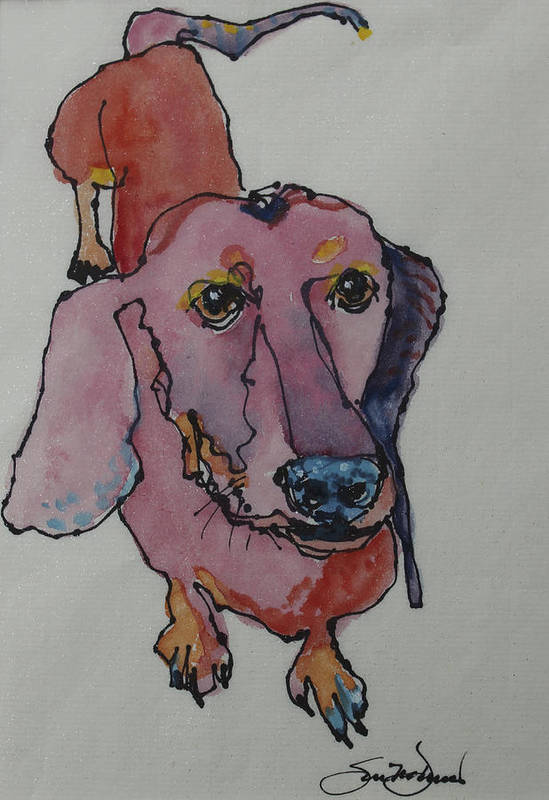 Dachshund Art Print featuring the painting Claire In Pink by Susan Davies
