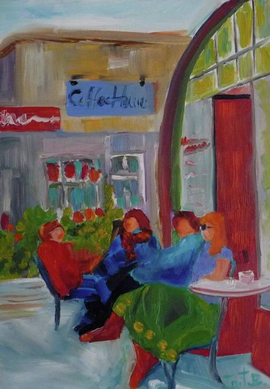 Oil Art Print featuring the painting Coffe House by Irit Bourla