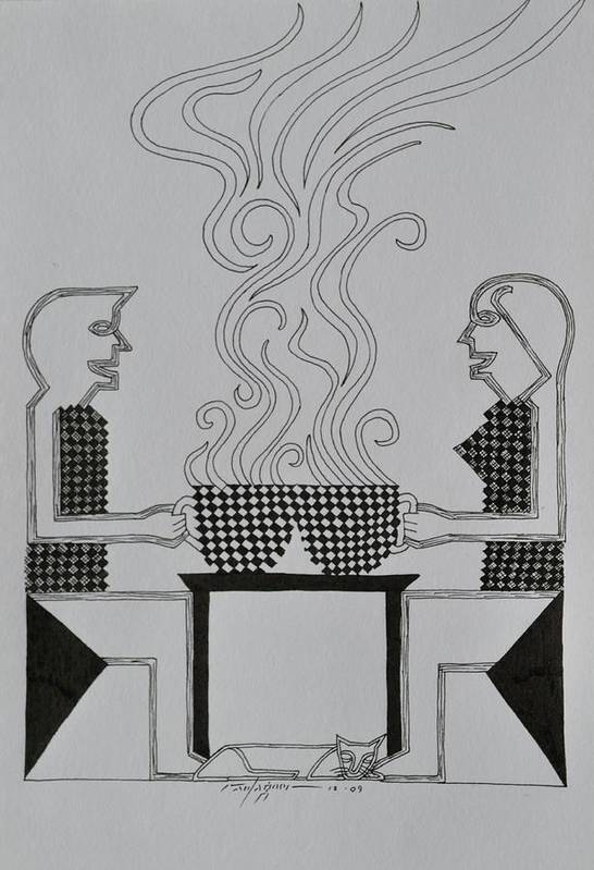 Coffee Art Print featuring the drawing Coffee Break by Raul Agner