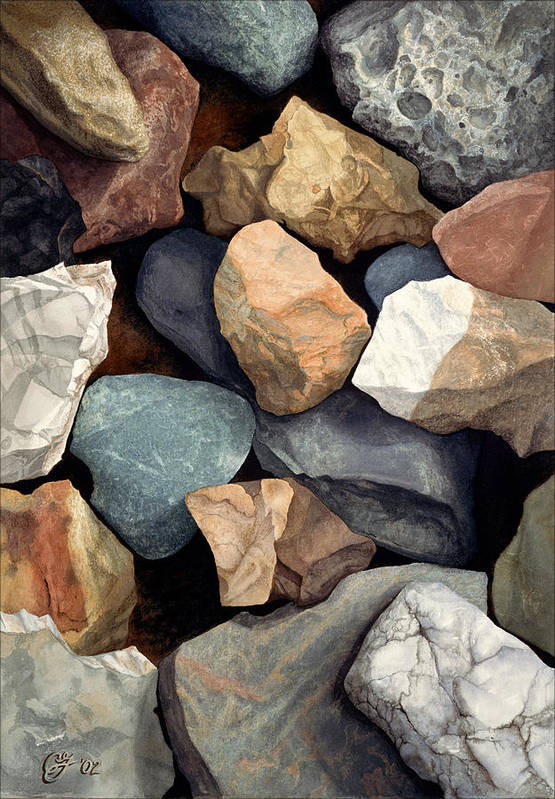 Stones Art Print featuring the painting Common Stone by Craig Gallaway