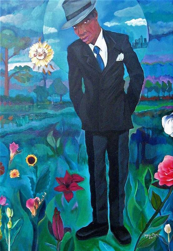 Man Art Print featuring the painting Cooler By The Lake/male by Joyce Owens