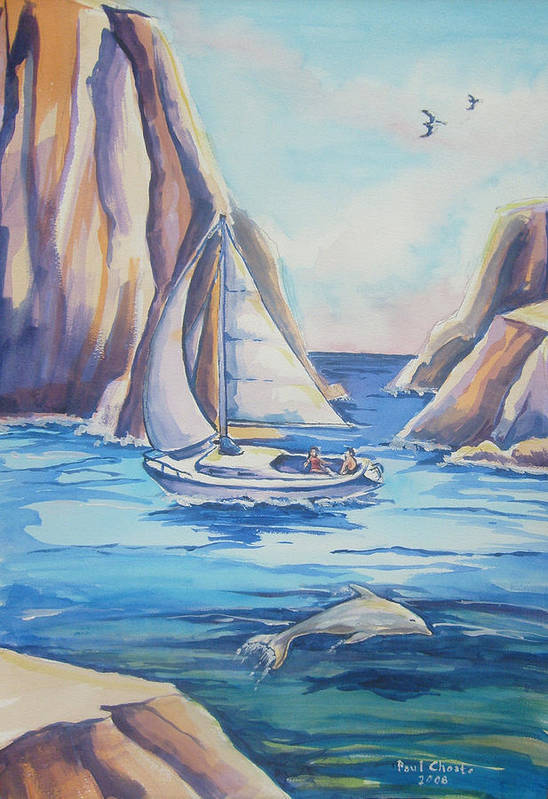 Seascape Art Print featuring the painting Cove Sailing by Paul Choate