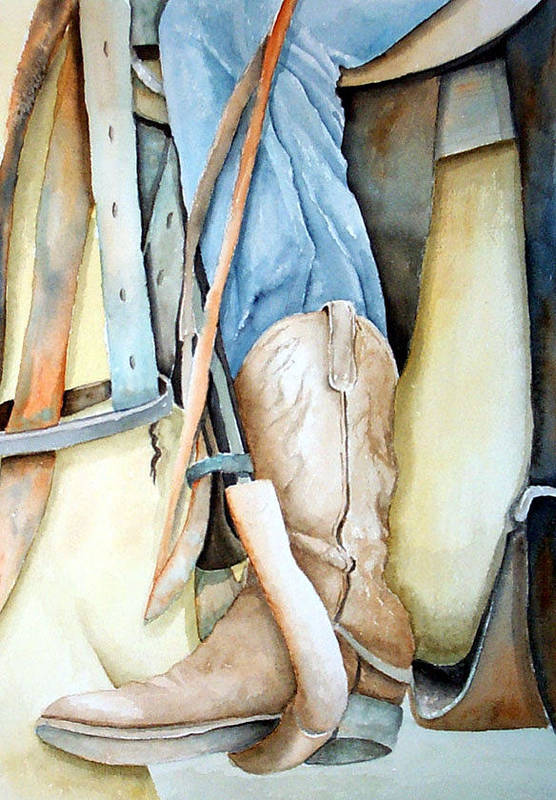 Horse Art Print featuring the painting Cowboy Boot by Dorothy Nalls