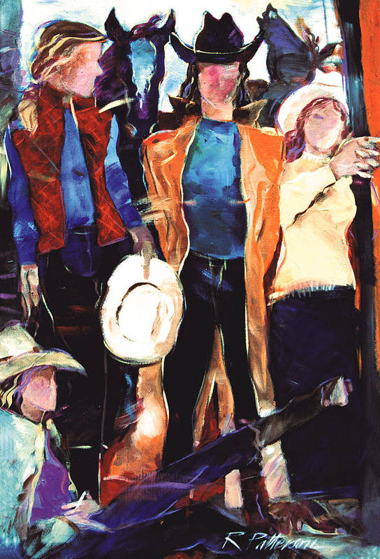 Figurative Art Print featuring the painting Cowgirls by Ron Patterson