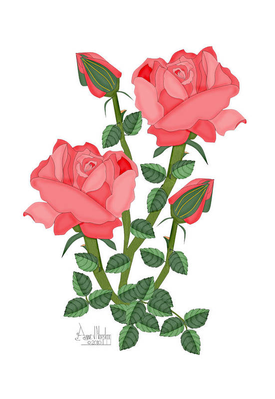Pink Roses Art Print featuring the painting Daiquiri Roses In January 2010 by Anne Norskog