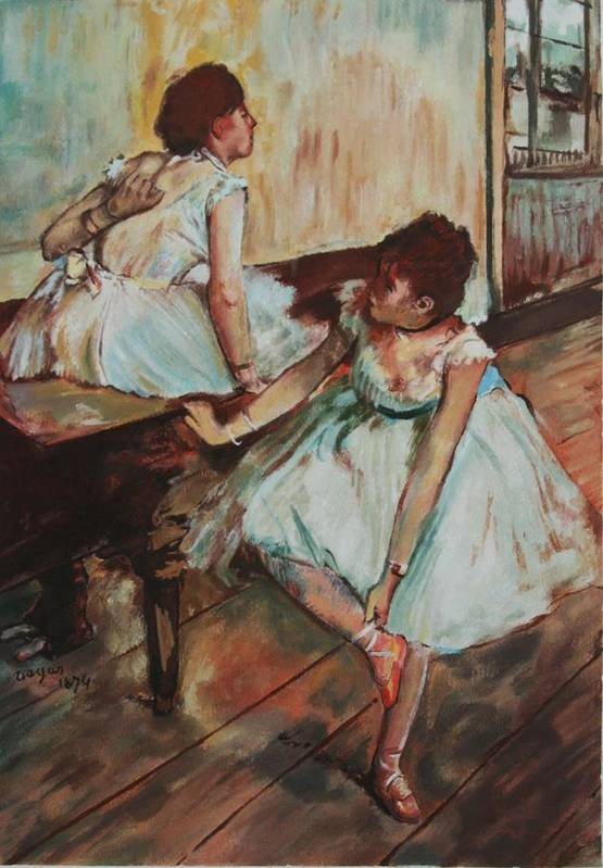 Edgar Degas Art Print featuring the painting Dancers by Kevin Hopkins