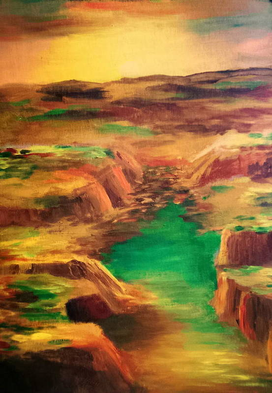 Water Art Print featuring the painting Ditch by Vivian Mosley