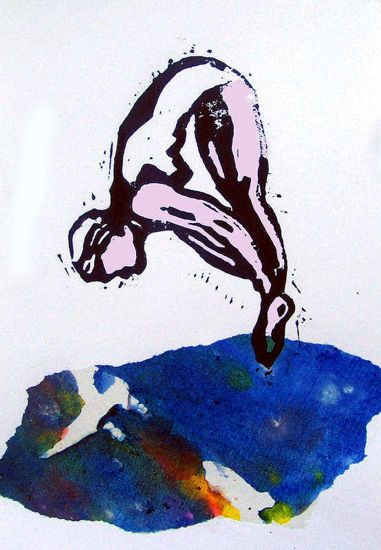 Lino Art Print featuring the mixed media Dive - Sunlit Sea by Adam Kissel