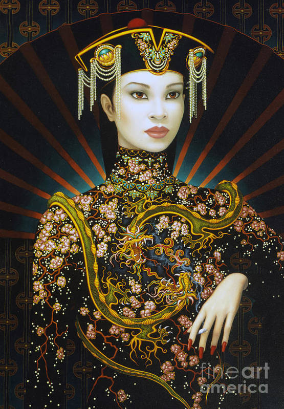 Oriental Art Print featuring the painting Dragon Smoke by Jane Whiting Chrzanoska