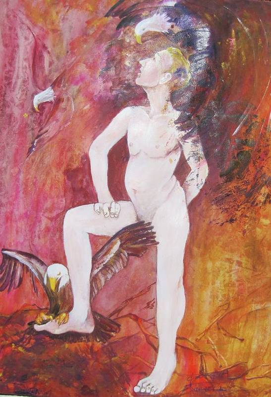 Painting Depicts A Nude Man Touched By Two Eagles. Whimsical And Abstracted. Rendered In Pinks Art Print featuring the painting Eagle Scout by Georgia Annwell