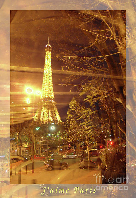 Paris Print featuring the photograph Eiffel Tower By Bus Tour Greeting Card Poster by Felipe Adan Lerma