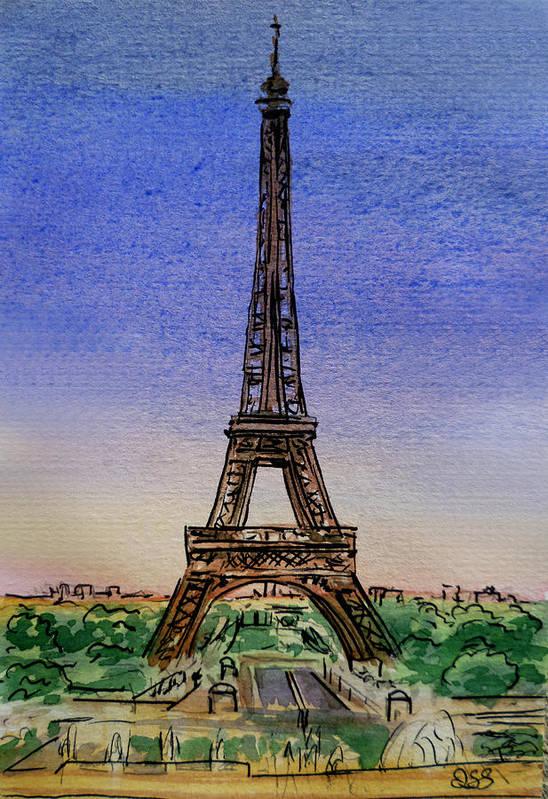 Paris Art Print featuring the painting Eiffel Tower Paris France by Irina Sztukowski