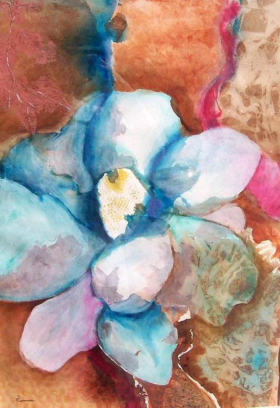 Floral Art Print featuring the painting Emerging Flower by Sandy Hemmer