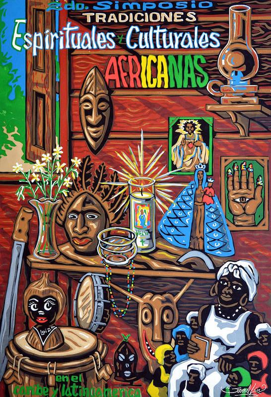 Spiritualist Art Print featuring the mixed media Espiritualidad Africana by Samuel Lind