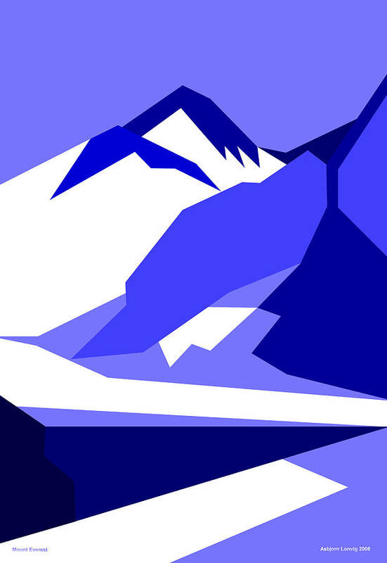 Everest Art Print featuring the digital art Everest Blue by Asbjorn Lonvig