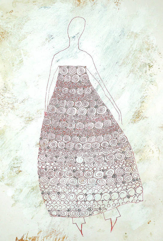 Woman Art Print featuring the drawing Exhaling... by Kseniya Nelasova