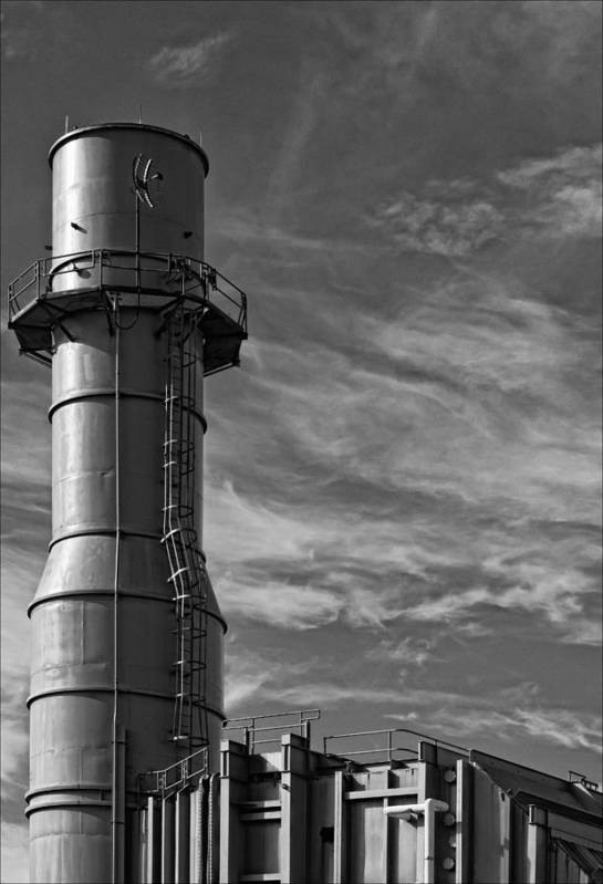 Black And White Art Print featuring the photograph Factory Tower by Robert Ullmann