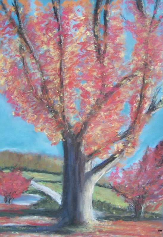 Fall Art Print featuring the painting Fall Tree by Sarah Rachel Evans