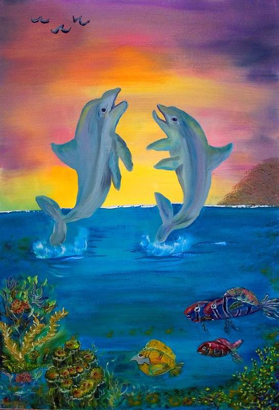 Original Art Print featuring the painting Fantasy Dolphins by Mikki Alhart