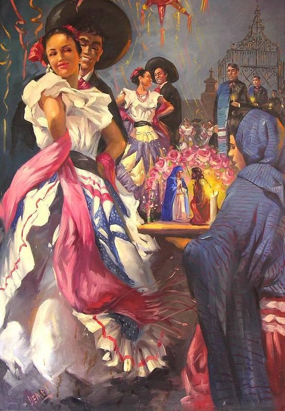 Fiesta Art Print featuring the painting Fiesta Tapatia by Demetrio