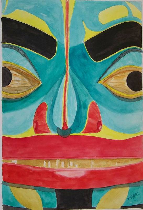Alaska Totem Art Print featuring the painting Fish Man by Larry Wright