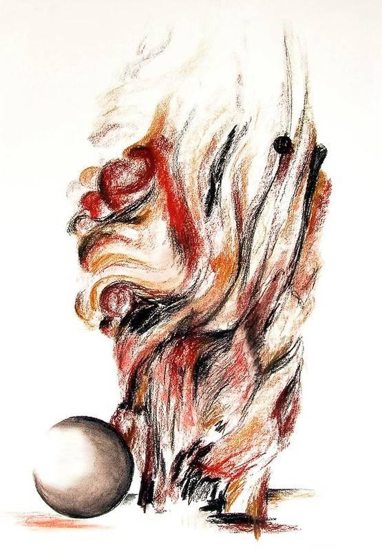 Still Life Art Print featuring the drawing Flamme En Bois by Muriel Dolemieux